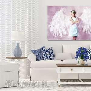 różowe obraz z-aniołem xxl anioł 1 róż - 120x70cm