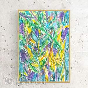 abstrakcja zielone ręcznie wykonany rysunek. dżungla - praca