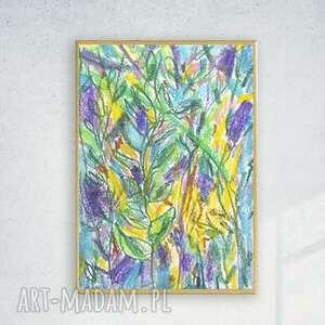 fioletowe malowany ręcznie oprawiony rysunek z dżunglą, ładny