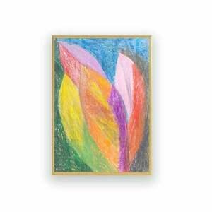 różowe malowany ręcznie oprawiony rysunek, abstrakcja