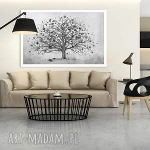 drzewo białe owoczesny obraz do salonu drukowany