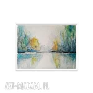 zielone abstrakcja pejzaż akwarela formatu 32/24