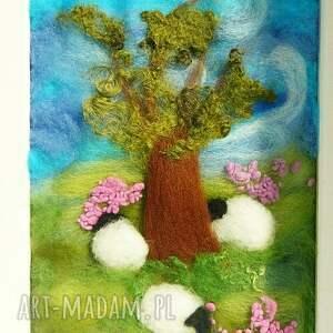 turkusowe obrazy owieczka pod starym dębem