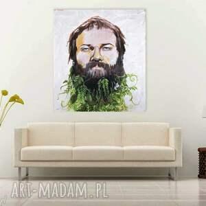 brązowe obrazy broda portret obraz na w 100% bawełnianym