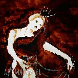 białe obrazy baletnica potworna - obraz kawą