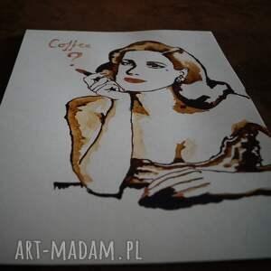 beżowe obrazy retro propozycja - obraz kawą malowany