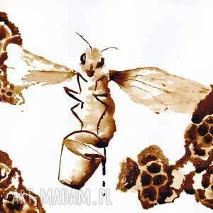 gustowne obrazy coffeepainting pszczółka z wiadrem miodu - obraz