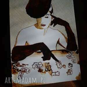 beżowe obrazy dama puzzle me? obraz kawą malowany