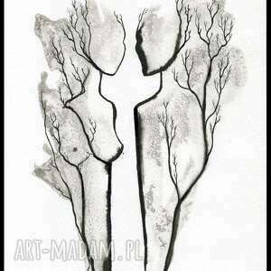 szare grafiki do salonu ręcznie malowany, abstrakcja