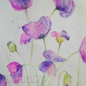 awangardowe różowo fioletowe kwiaty -akwarela