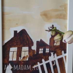 kawa obrazy białe skrzypek na dachu - obraz kawą