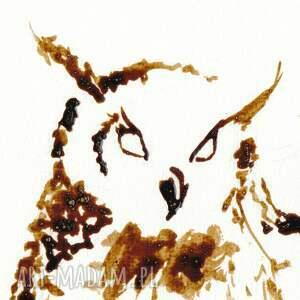 beżowe obrazy jezioro sowa jeziorna - obraz kawą malowany