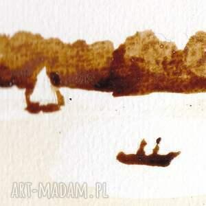 eleganckie obrazy sówka jeziorna - obraz kawą