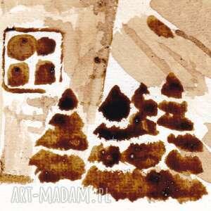 beżowe obrazy sowa sówka strażniczka - obraz kawą