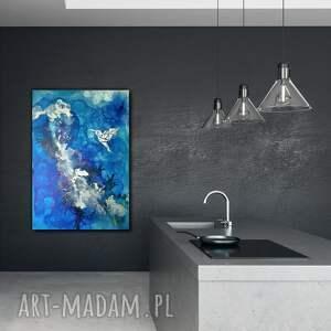 srebrne napłótnie srebrny koliber -obraz do salonu