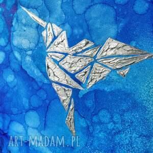 Srebrny koliber -Obraz do salonu i na prezent - ręcznie malowany
