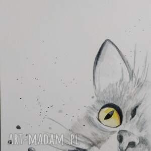 eleganckie kotek szary - akwarela formatu