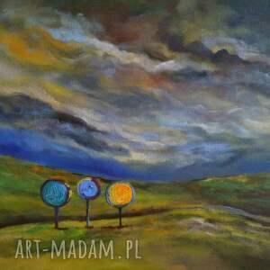 obraz namalowany trzy drzewa akrylowy formatu