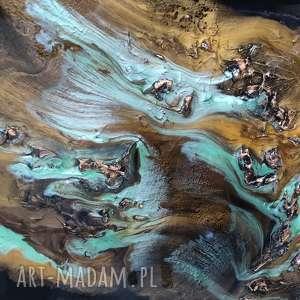 czarne bogata faktura wyspa tonąca w złocie - obraz
