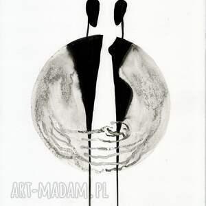 ART Krystyna Siwek zestaw 3 grafik 30X40 cm wykonanych ręcznie, abstrakcja, elegancki minimalizm obrazy malow