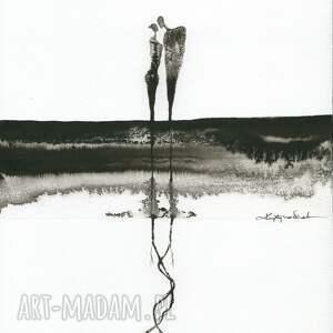 ART Krystyna Siwek zestaw 4 grafik A4 wykonanych ręcznie, abstrakcja, elegancki minimalizm, obraz