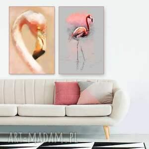 flamingi obrazy zestaw 2 40 x 60 na płótnie