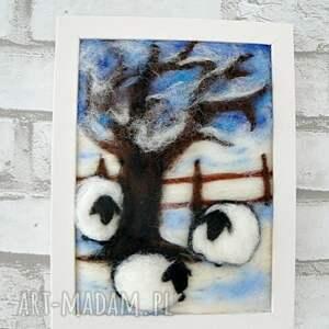 ręcznie zrobione obrazy owca zimowy krajobraz. Obraz z kolekcji