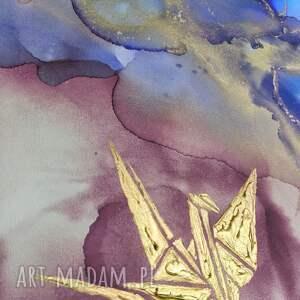 prezenty święta niebieskie złote żurawie - abstrakcja ręcznie