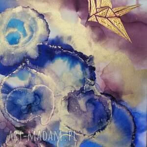 prezenty święta obraz do salonu złote żurawie - abstrakcja ręcznie
