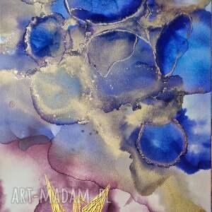 prezenty świętazłote żurawie - abstrakcja ręcznie malowana, obraz do salonu prezent - home pod choinkę