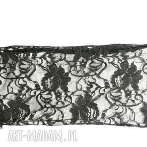 handmade opaski opaska koronkowa czarno biała