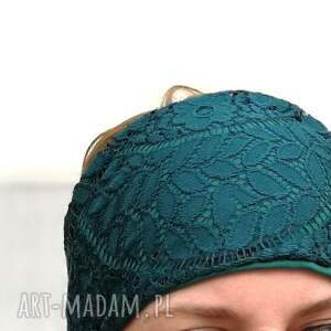 handmade opaski koronka koronkowa zielona szeroka opaska