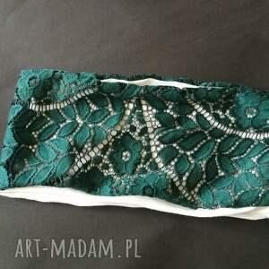 opaski: opaska damska koronkowa ciemna zielen boho etno