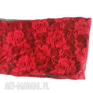 opaski: opaska koronkowa czerwona etno boho wiosenna - damska