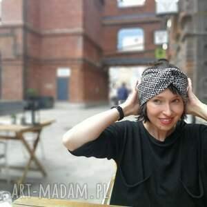 opaski turban opaska czarno biała