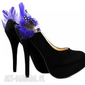 handmade ozdoby do butów pióra fantasy - klipsy