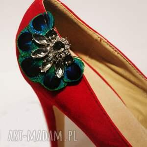 pawie ozdoby do butów klipsy z pawich piór
