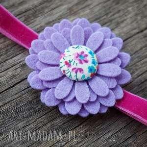 fioletowe ozdoby do butów opaska włosów z kwiatuszkiem
