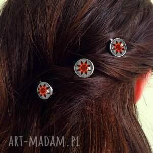 ozdoby do włosów wsuwki czerwone kwiaty - 3