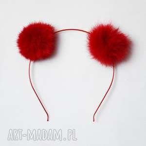 ozdoby do włosów pompony czerwony miś