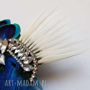 niepowtarzalne ozdoby do włosów pawie fascynator broszka z pawich