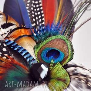 ślub ozdoby do włosów fascynator broszka z piór - kolorowe