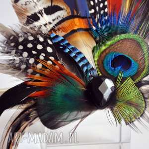 frapujące ozdoby do włosów ślub fascynator z naturalnych piór w kolorach tęczy