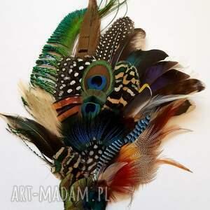 unikalne ozdoby do włosów fascynator z piór - kolorowe