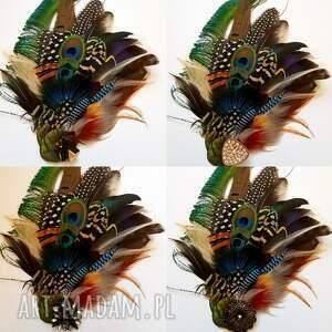 fascynator ozdoby do włosów zielone z piór - kolorowe