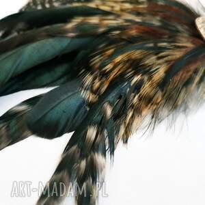 pióra ozdoby do włosów zielone fascynator z piór - zielona