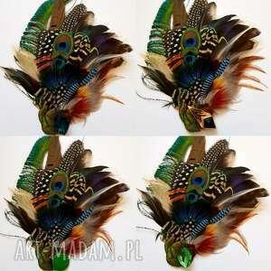 turkusowe ozdoby do włosów pawie fascynator z piór - kolorowe