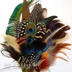 unikalne ozdoby do włosów pióra fascynator z piór - kolorowe