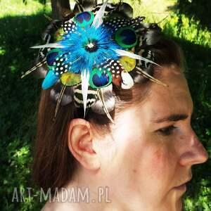 broszka ozdoby do włosów fascynator z piór - kolorowe