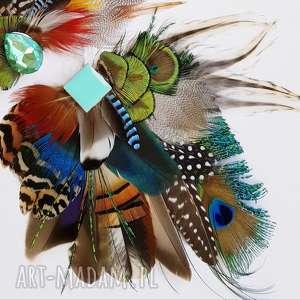 ozdoby do włosów boho fascynator z piór - kolorowe